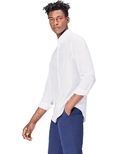 FIND Herren Regulär Geschnittenes, Lässiges Baumwollhemd Weiß (White)