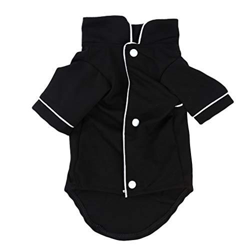 L_shop Dog Pyjamas Pet Sleepwear Shirt Atmungsaktives weiches Haustierkostüm Welpen Katze Kleidung Outfits, schwarz, 40cm