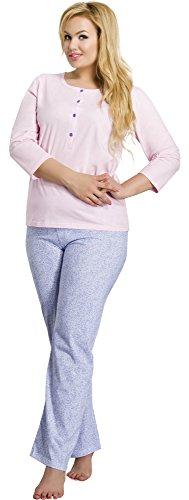 Merry Style Damen Schlafanzug 2008 Rosa-3A