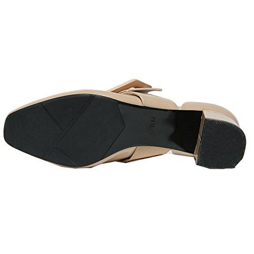 ENMAYER Chaussures en cuir décontracté pour femmes Chaussures à talons pointu pour femmes Chaussures carrées Chaussures décontractées rasées et automnales Beige(5.5cm)