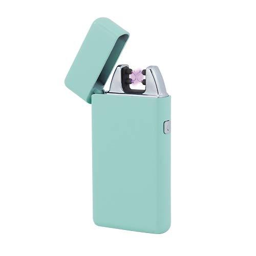 TESLA Lighter T05 | Lichtbogen Feuerzeug, Plasma Double-Arc, elektronisch wiederaufladbar, aufladbar mit Strom per USB, ohne Gas und Benzin, mit Ladekabel, in Edler Geschenkverpackung, Mint