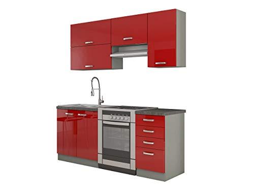 Mirjan24  Küche Multiline II, 180 cm Küchenblock/Küchenzeile mit Arbeitsplatte und Spühlbecken, 5 Schrank-Module frei kombinierbar (Grau/Rot Hochglanz)