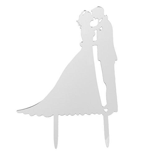 SunniMix Acryl Kuchenaufsätze Als Tortendeko Cake Topper Kuchendekoration Für Halloween Geburtstag Party - Silber Braut und Bräutigam (Halloween Bräutigam Und Braut)