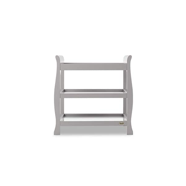 Obaby Stamford Open Changing Unit - Warm Grey Obaby Two large open shelf spaces for plenty of storage Top of the unit is the perfect size for accommodating a changing mat Carefully considered table top perfect for the use of a changing mat 2