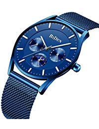 Herren Quarzuhr Minimalistisch Ultra Dünn Wasserdicht Mode Blau Armbanduhr Tag Datum Anzeige Edelstahl Mesh Band