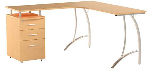 Großen Ecke Computer-Schreibtisch mit 3Schubladen und Registratur A4, passende andere Piranha Buche Effekt Home Office Möbel-Regal PC 28B