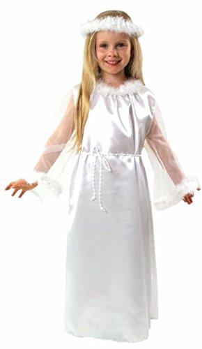 Weihnachtsengel Deluxe Kostüm mit Haarreifen/Heiligenschein von Größe 98 bis 140 - Engelskostüm für Kinder - Engel Kostüm für Kinder Mädchen (98/104)
