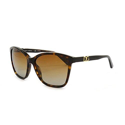 Dolce & Gabbana Damen Dolce&Gabana Sonnenbrille, Havana/braun verlauf polarisiert 502/T5), Large (Herstellergröße: 57)