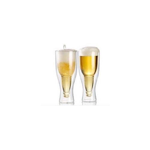 Infactory - Boccale da birra a parete doppia, 0,33 l, set da 2