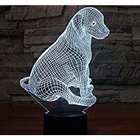 3d Illusion Perro animal Lámpara luces de la noche ajustable 7 colores LED 3d Creative Interruptor táctil estéreo visual atmósfera mesa regalo para Navidad