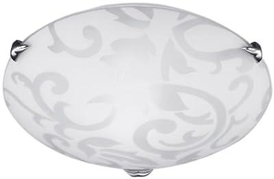 Honsel Leuchten 20271 Honsel Deckenleuchte mattnickel Glas weiß mit Dekor Ornamentik von Honsel bei Lampenhans.de