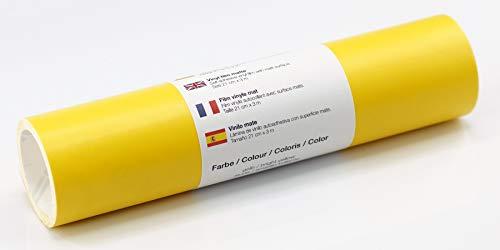Selbstklebende Wandtattoo-/ Plotterfolie Vinylfolie matt 21 cm x 3 m, Farbe:Gelb