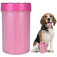 KINDO Limpiador para Patas de Perros | Silicona Suave y Resistente | Diseño Especial | Color Rosa | 2 Tamaños (Mediano)