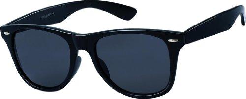 Nerd Sonnenbrille Wayfarer Stil Brille Pilotenbrille Vintage Look Schwarz-Gummiert Matt (Cop Brillen)