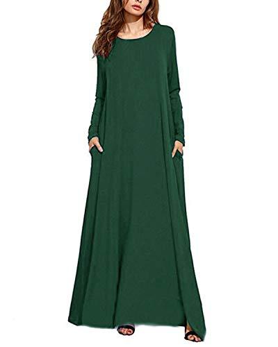 Kidsform Robe Longue Femme Manches Longues Grande Taille Chic Maxi Robe de Plage d'été Col Rond Casual Rode de Soirée avec Poches Z-Vert 36 EU (Fabricant: Taille S)