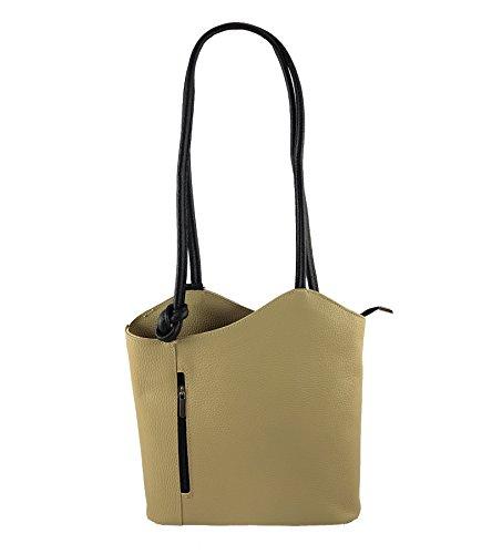 Freyday 2 in 1 Handtasche Rucksack Designer Luxus Henkeltasche aus Echtleder in versch. Designs (Glattleder Beige-Schwarz)