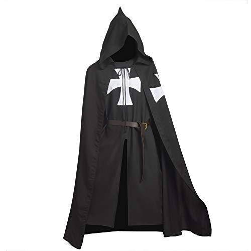 BLESSUME Mittelalterliche Hospitaller Rittertunika Mittelalterlich Chevalerie Ritter Tunika Umhang Kostüm (Black - Mittelalterliche Krieger Kostüm Für Erwachsene
