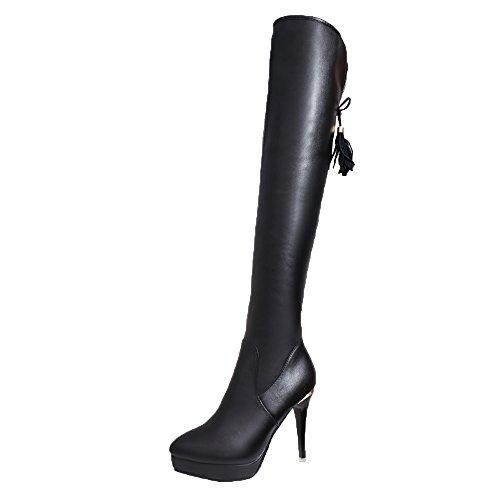 VECDY Damen Schuhe,Räumungsverkauf- Herbst Frauen Stiefel mit hohen Absätzen Knie Heels wasserdicht über Knie Quaste hohe Stiefel Lange High Heel Stiefel warme Schuhe(schwarz,38)