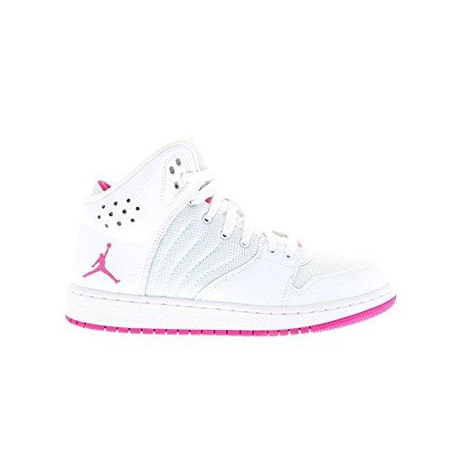 Nike Mädchen Jordan 1 Flight 4 Gg Turnschuhe Blanco / Rosa (White / Vivid Pink-White-Vvd Pnk)