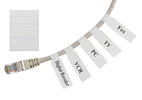 Ethernet-kabel Marker (Meta-Label® (20 Blatt, 600 Etiketten) Weiß Selbstklebend Kabeletikett - Wasserdicht | Reißfest | Haltbar - mit Online Drucken Werkzeug - Für Laserdrucker)