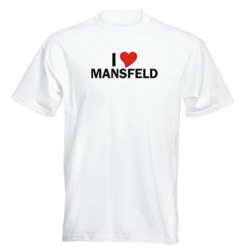 T-Shirt mit Städtenamen - i Love Mansfeld- Herren - unisex Weiß