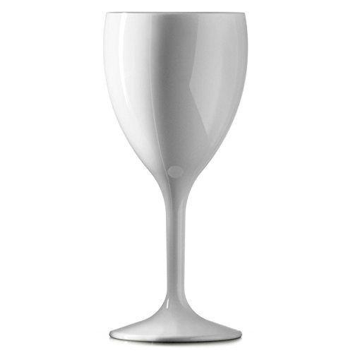 Lot de 12 grand verre à vin blanc Plastique 325 ml Réutilisable 100 de fois Pratiquement incassable En polycarbonate solide Qualité traiteur