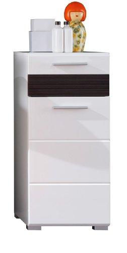 trendteam Badezimmer Schrank Kommode Mezzo, 37 x 79 x 31 cm in Weiß Hochglanz, Absetzung Eiche Melinga Rillenstruktur Dunkel (Nb.) mit viel Stauraum