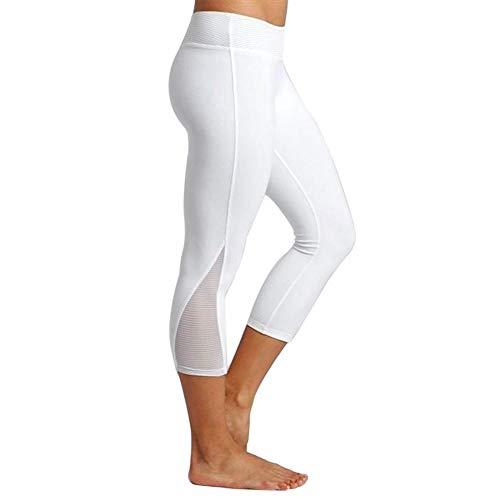 Hohe Taille Stretch Hose (YEBIRAL Yoga Leggings Damen Capri Leggings 3/4 Sport Hose Stretch Workout Fitness Hohe Taille Jogginghose(L,Weiß))