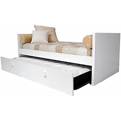 Cama nido infantil / Juvenil dos camas lacada en blanco en MDF (dm) 4 cm de grosor