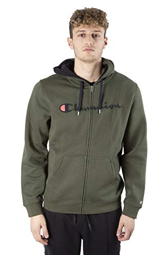 Champion Men Zip Hoodie Hooded Full Zip Sweatshirt 212065, grün, L Retro Full Zip Hoodie