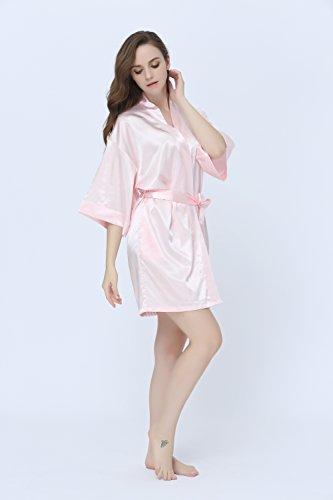 Damen Kimono Morgenmantel Satin Bademantel Robe Kurz Nachtwäsche Negligee Schlafanzug von TONY & CANDICE Rosa