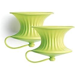 1 de Lékué - Exprimidor y Conservador de Limones, Silicona, 2 Unidades, Color Verde
