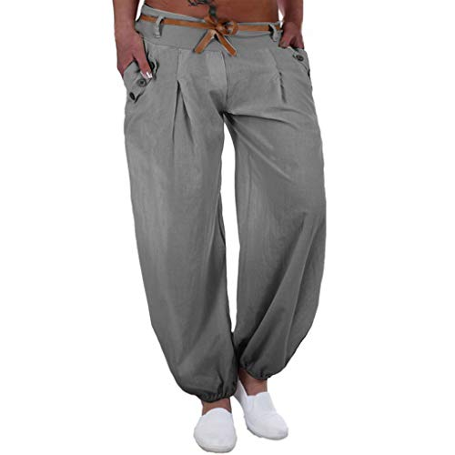 WOZOW Damen Harem Kurze Hosen Übergröße Solid Bettwäsche Baumwolle Lose Pants Low Waist Straight Leg Bequem Yoga Lang Ankle Pumphose (XL,grau) -