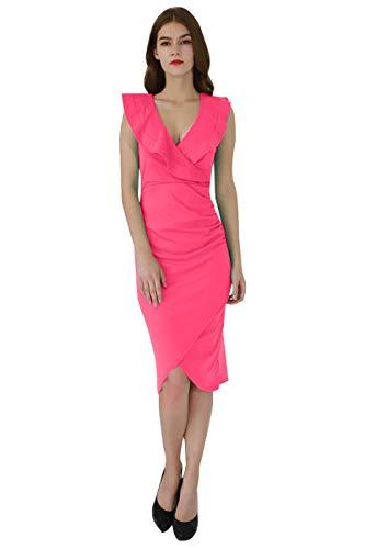 YMING Damen Volant Kleid Bodycon Bleistiftkleid Sexy Partykleid Elegante Bleistiftkleid,Fuchsia,L/DE 40-42 (Kardashian Roten Kim Kleid)