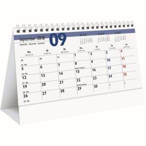 Zettler Monats-Aufstellkalender 20x15mm Karton weiß Kalendarium 2018