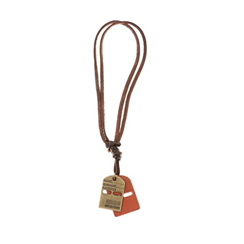 Phenovo Vintage PU Leather Dog Tags Name Address ID Necklace Pendant Copper  available at amazon for Rs.405