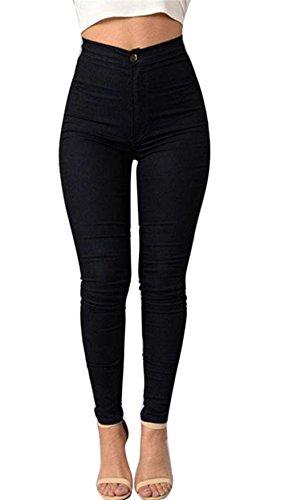 Internet Damen Denim Jeans Neue Art und Weise Multi Farben Mädchen Beiläufige Jeans Hosen (XXL, Schwarz)