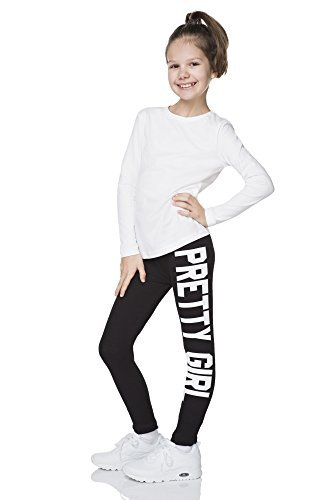 """hi!mom - Mädchen Leggings mit Schriftzug \""""Pretty Girl\"""" - lang & stylischer Print - 1-13 Jahre- DZPRT - Schwarz - 4-5 Jahre"""