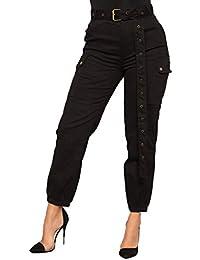 Mujer Pantalon Cargo Elegantes Moda Cintura Alta con Bolsillos Casual  Vintage Especial Estilo Pantalones De Tiempo 691805b29933