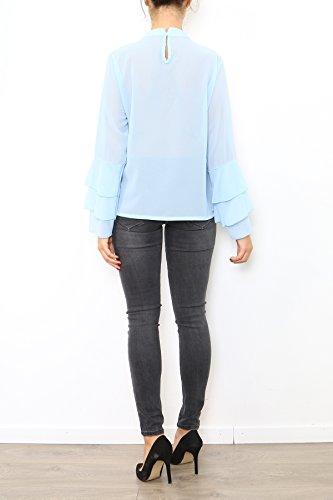 Lyse Maglia a manica lunga - Basic - Collo a U - Maniche lunghe - Donna Azzurro
