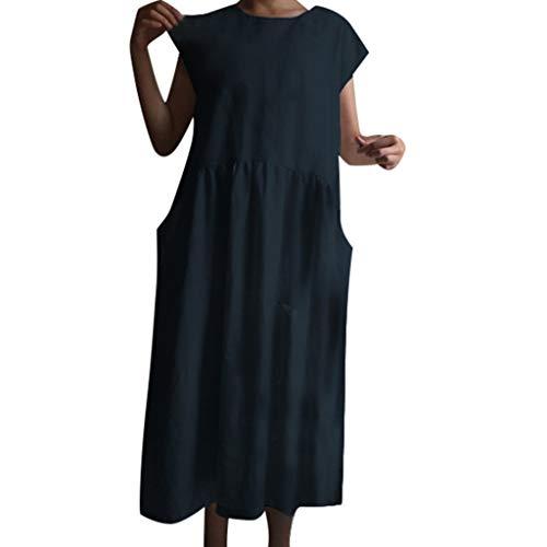 VEMOW Leinenkleider Sommerkleid Elegante Damen Frauen Langes Kleid Sommer Kurzarm O-Ausschnitt Feste Partei Beiläufige Tägliche Partei Loses Kleid(Marine, EU-40/CN-M)