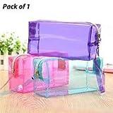 ShopNGift PVC Transparent Plastic Travel Cosmetic Bag with Zipper (Random Colour)