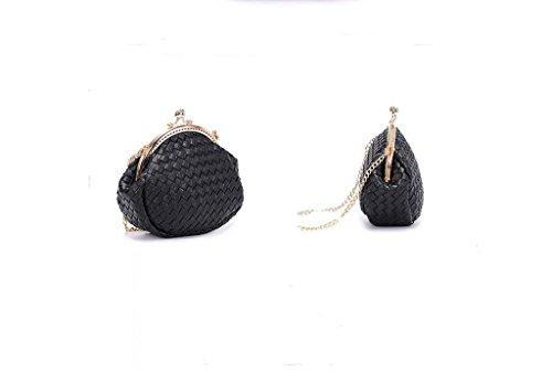 Mini Plaid sacchetto chain tessuta, spalla signora, pacchetto diagonale, polpette Frizione black