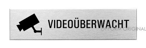 """OFFORM Edelstahl Türschild 160x40 mm Nr. 10153 """"Videoüberwacht"""""""