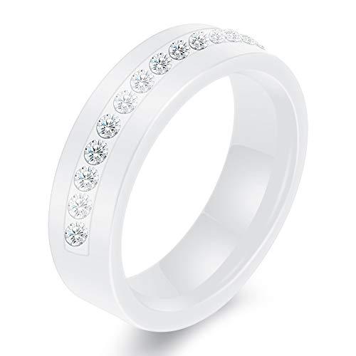 AllRing Herrenring Aus Keramik,Personalisierte Schwarz Und Weiß Einreihige Diamant Keramikringe Mit Zirkon-Ringen (Schwarz Weiß Gold Diamant-ring-männer)