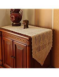 DOKOT Baumwolle Bestickt Crochet Spitze Tischläufer Vintage und Dresser Schal, Diamant Muster 15.7x59 inches Beige (Diamant-dresser)