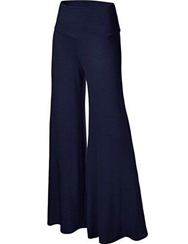 Emma Damen Klassisch einfarbrig hohe Taille weite Palazzo Lounge Hose Dunkelblau