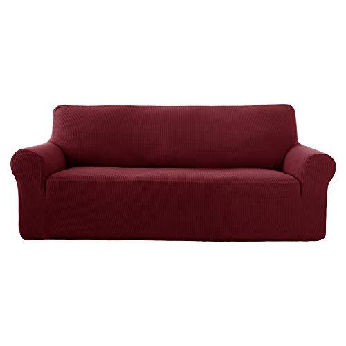 17be9d0647a103 Deconovo 1 Pièce Housse de canape 3 Places avec accoudoir Extensible en  Jacquard Rouge Foncé Revêtement de Canape pour Enfant Relaxation de Salon