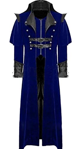 CuteRose Men's Open Front Gangster Deluxe Gothic Punk Duster Coat Blue L Deluxe Military Jacket