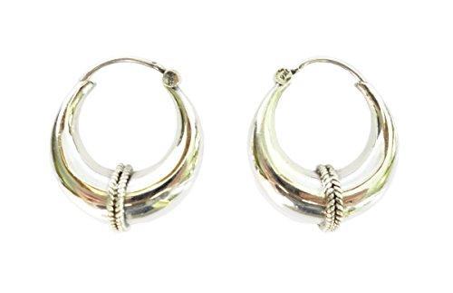 925 Sterling Silber feiner handgefertigt Creolen für Frauen Ethnic Tribal Einzigartige Designer Gypsy Ohrringe von Tibetisches Silber.